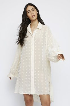 Glamorous - Cream Textured Spot Shirt Dress