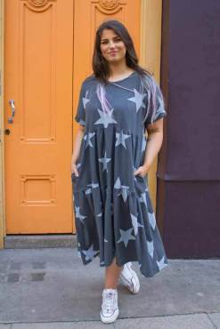 Thunder Egg - Grey Star Midi Smock Dress