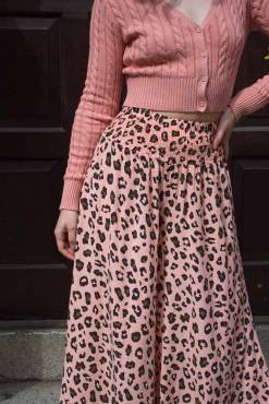 Thunder Egg - Peach Leopard Print Palazzo Pants