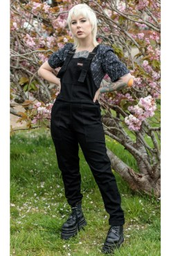un & Fly - New Fit Black Stretch Denim Dungarees