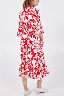 Thunder Egg - Red Mushroom Midi Smock Dress