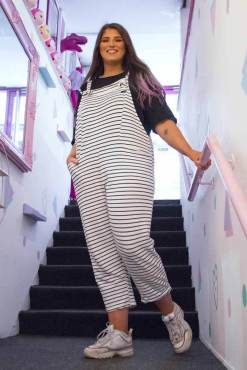 Thunder Egg - White & Black Stripe Jersey Dungarees