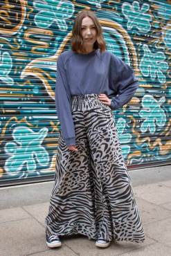 Thunder Egg - Slate Grey Animal Print Palazzo Pants