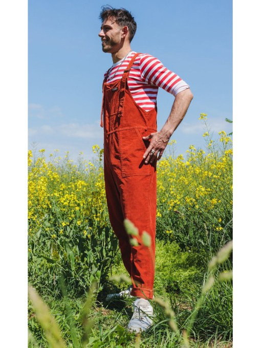 Run & Fly - Rust Stretch Corduroy Dungarees