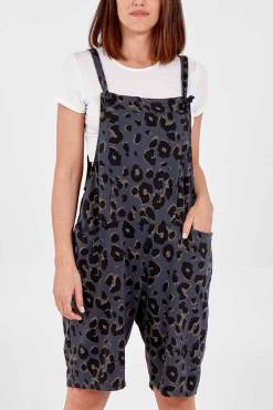 Charcoal Leopard Print Jersey Dungaree Shorts