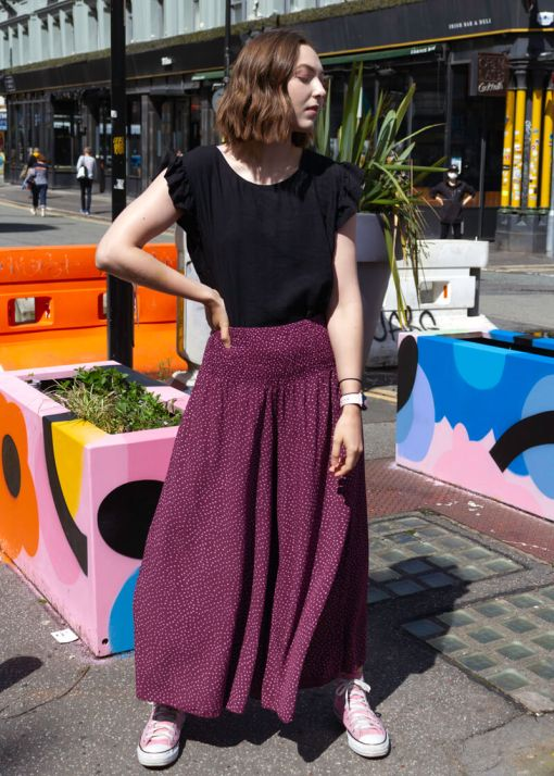 Thunder Egg - Cropped Spot Palazzo Pants in Berry