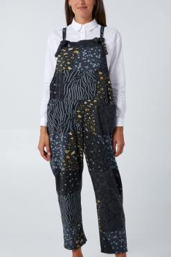 Thunder Egg - Patchwork Dungarees in Charcoal