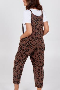 Thunder Egg - Chocolate Leopard Print Jersey Dungarees