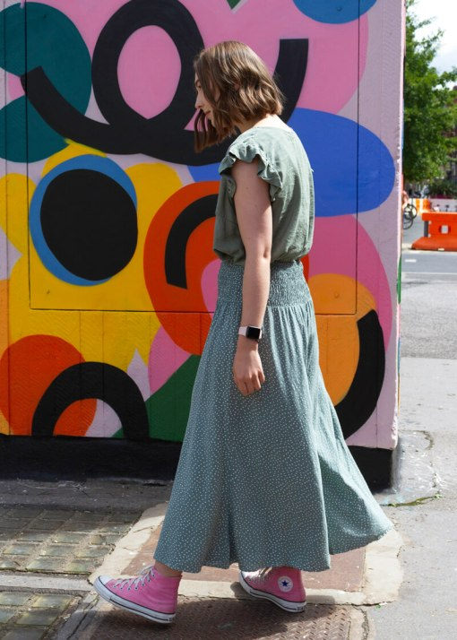 Thunder Egg - Cropped Spot Palazzo Pants in Sage