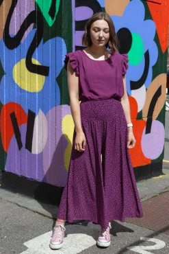 Thunder Egg - Cropped Spot Palazzo Pants in Plum