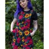 Run & Fly - Stretch Corduroy Retro Floral Pinafore