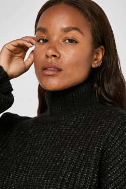 Noisy May - Charcoal Grey High Neck Knitted Jumper