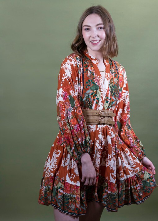 Thunder Egg - Tropical Floral Smock Dress in Rust