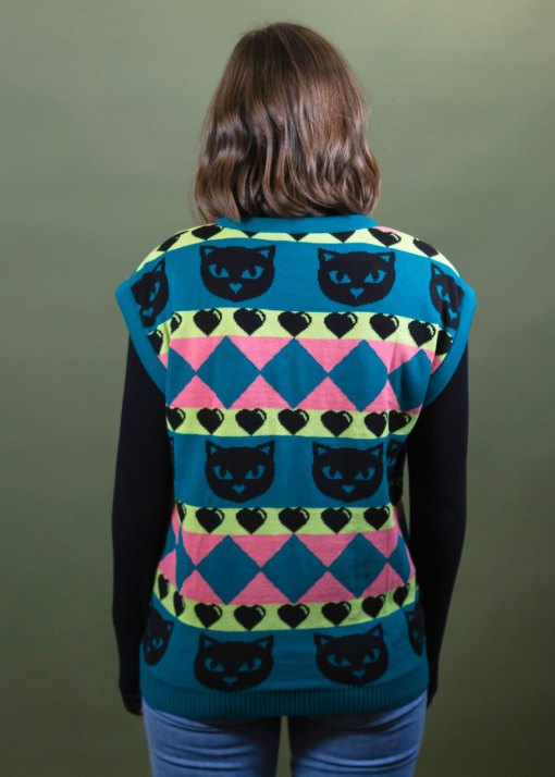 Home of Rainbows - Teal Kitty Knit Vest