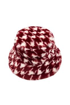 Thunder Egg - Red Houndstooth Faux Fur Bucket Hat