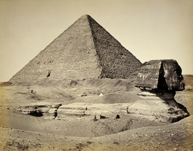 The Great Pyramid and Sphinx early photograph