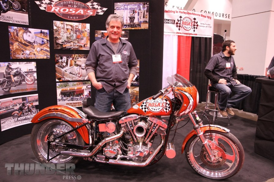 Andrew Rosa of Rosa's Motorcycle Shop has been racing this FL/FX since 1977