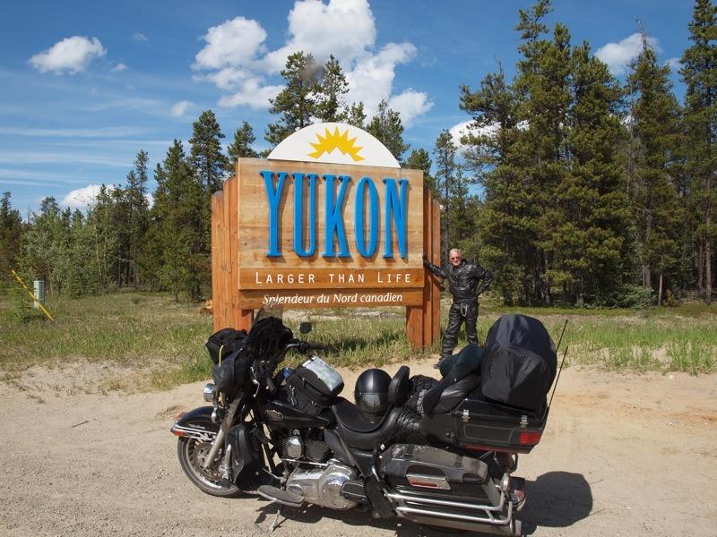 The author entering the Yukon Territory on the Alaska Highway at Watson Lake