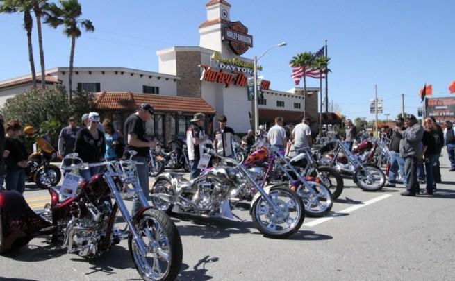 Bruce Rossmeyer's Harley-Davidson on North Beach Street during Daytona Bike Week 2013