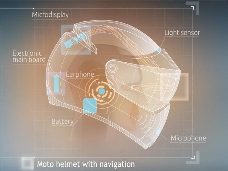 LiveMap motorcycle helmet design