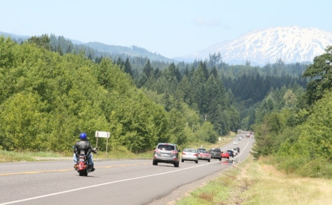 Cruising Southern Washington under the watchful eye of Mt. St Helens