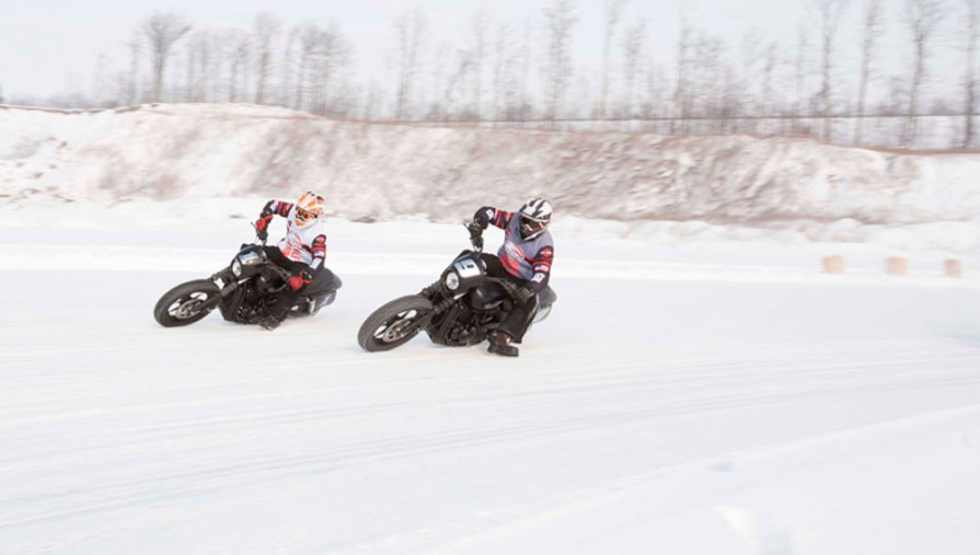 Harley-Davidson Street 750 on the ice in Aspen at the X Games