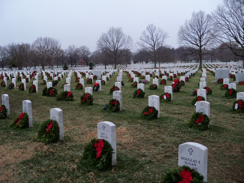 A total of 143,000 wreaths were laid on the graves of fallen soldiers at Arlington National Cemetery