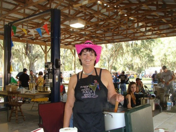 "Polly from Fred's Cluster Fux team out of Plant City stirs her team's ""Chili to dies for"""