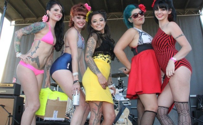 The pin-ups pose for the cameras