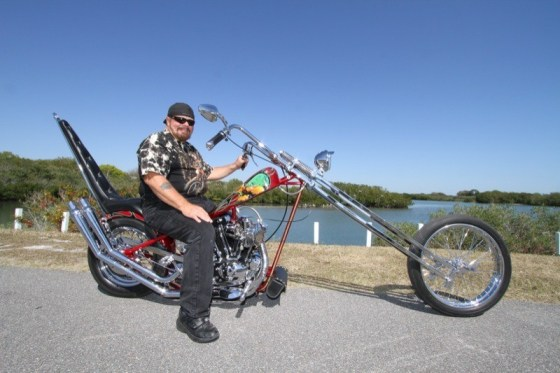 "Bernie ""Warrior"" and his hand-built chopper, ""Born to be Wild"""