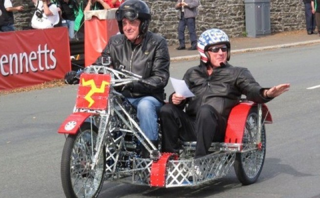 James May and Oz Clarke ride the Meccano bike at Manx Grand Prix
