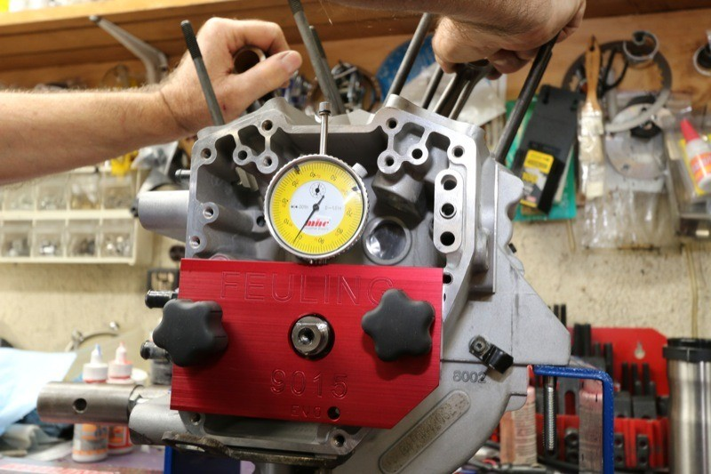 The Feuling Crankshaft Runout Tool is used to make sure the crank runout is within spec