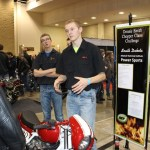 Matt from Mitchell Tech discusses the custom CB750 with interested attendees