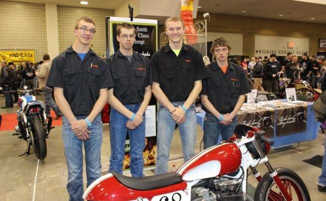 Members of the Mitchell Technical Institute's chopper club with their CB650 café build