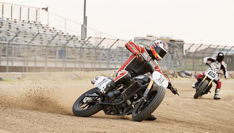 Brad Baker kicks up some dirt aboard the Harley-Davidson Street 750