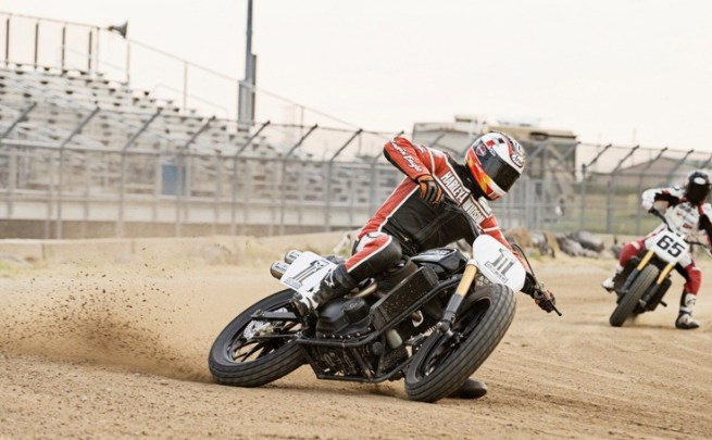 Brad Baker kicks up some dirt aboard the Harley-Davidson Street 750