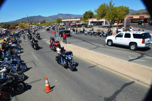 Sonny and the pack ride into the final destination at the Buffalo Chip in Cave Creek