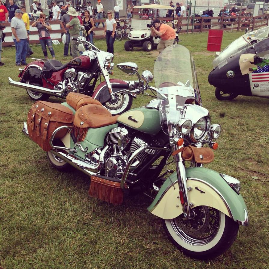 Indian unveiled their two-tone paint schemes at Vintage Days 2014 in Lexington, Ohio