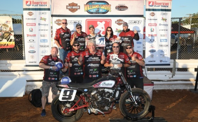 Jared Mees takes first place at the Williams Grove Half-Mile --Courtesy of Indian Motorcycle