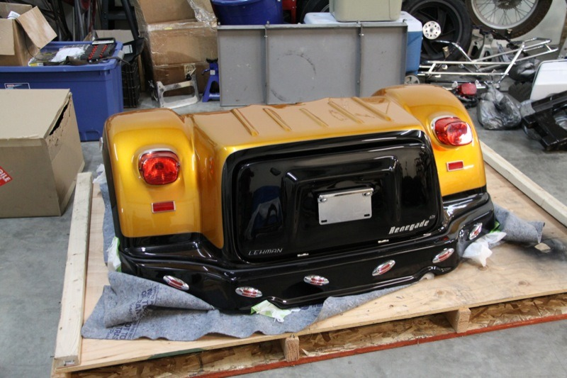 """The Champion """"Renegade"""" assembly has integrated fenders and a hinged trunk capable of carrying 500 pounds"""