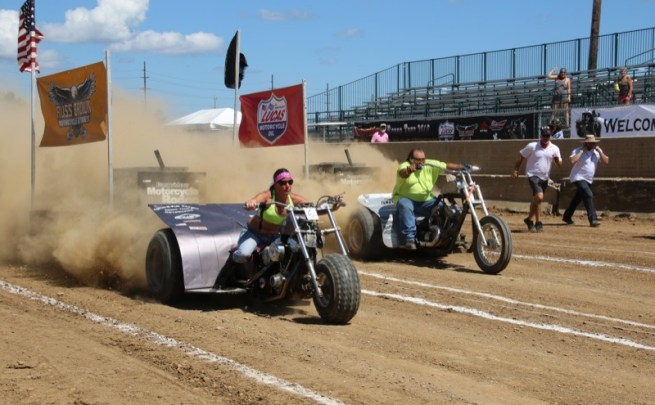 Patti Nuefur and Robert Tabor battling it out on the track