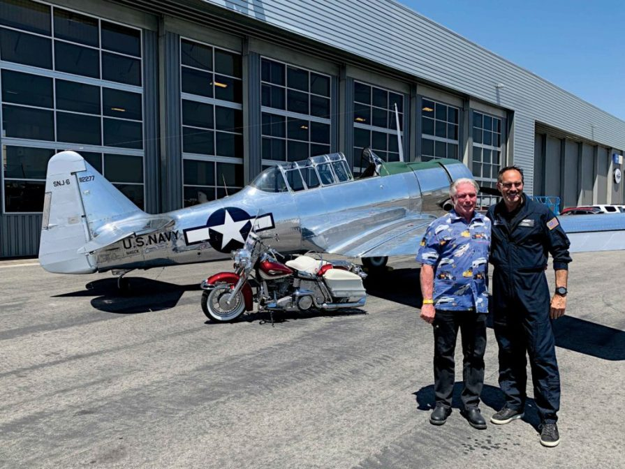 Pilot and President Mark Foster with Rich Lewis before they took a run with the T-6 Texan.