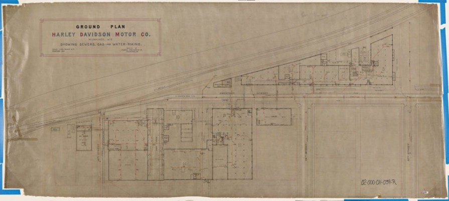 Ground plans from 1910 showing sewer, gas and water lines for the Juneau Ave. complex.