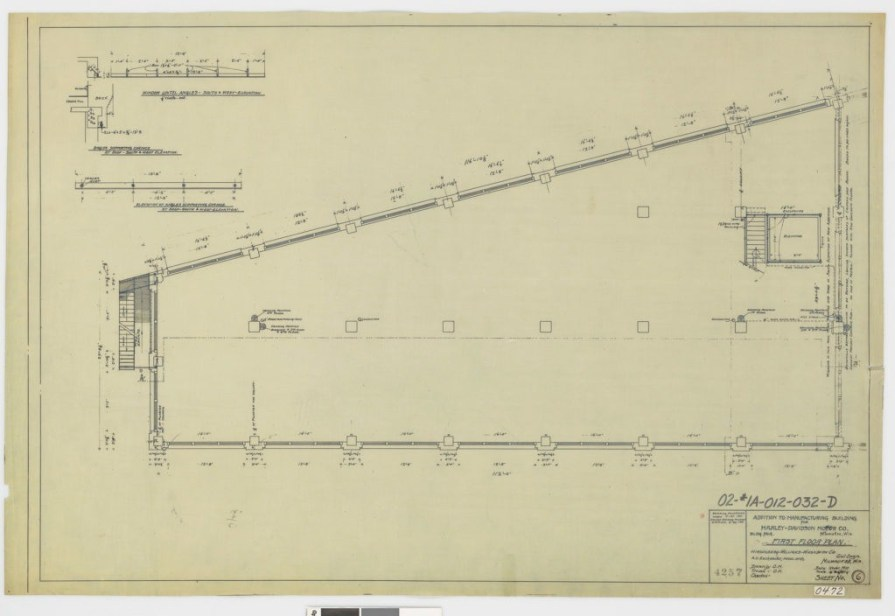 First-floor and elevation plan for the addition to the main manufacturing building.