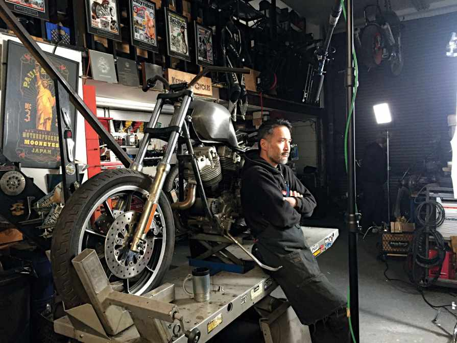 Keino Sasaki of Brooklyn-based Keino Cycles being interviewed for the film.