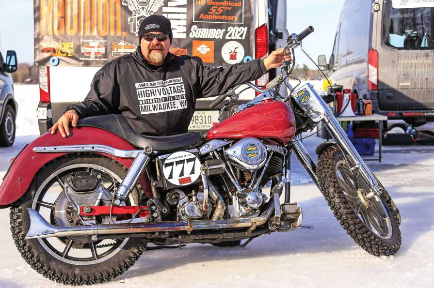 Promoter, racer and cancer patient Ron Brefka and his 1982 Shovelhead.