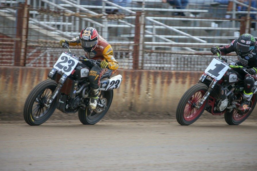 American Flat Track riders Jeffrey Carver Jr. and Jared Mees battle at the Springfield Mile