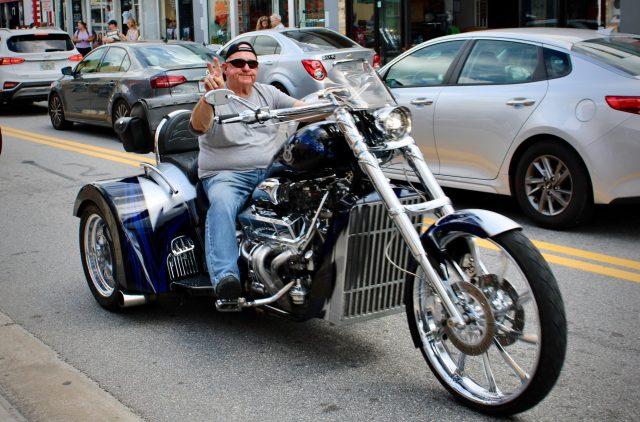 Riding motorcycles down Main Street at Daytona Bike Week 2020