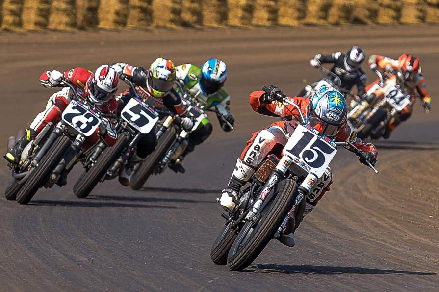 """Leading the boys at the Springfield Mile. Bottom: Taking the checkers there. """"She always did well at the Springfield Mile,"""" noted flat track announcer and historian Scottie Deubler, """"and the crowd noise anytime she'd pass someone at Springfield was just crazy."""""""