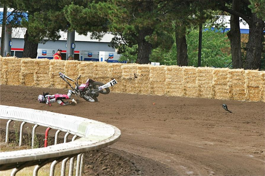 "Nichole crashed at the Santa Rose Mile in 2013. Photographer Tom Stein told us, ""I don't post many crash pics, but she hopped right up again that day, which says a lot about her strength!"" Of that crash, Nichole says, ""The track was really rough that day and the crash took place during practice. I didn't want to go back out after it, but I knew I needed to. I sucked it up and got back out there and made my main."""
